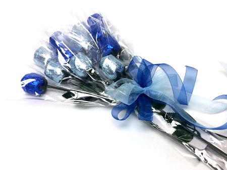 Chocolate Roses Bouquet - blue and silver