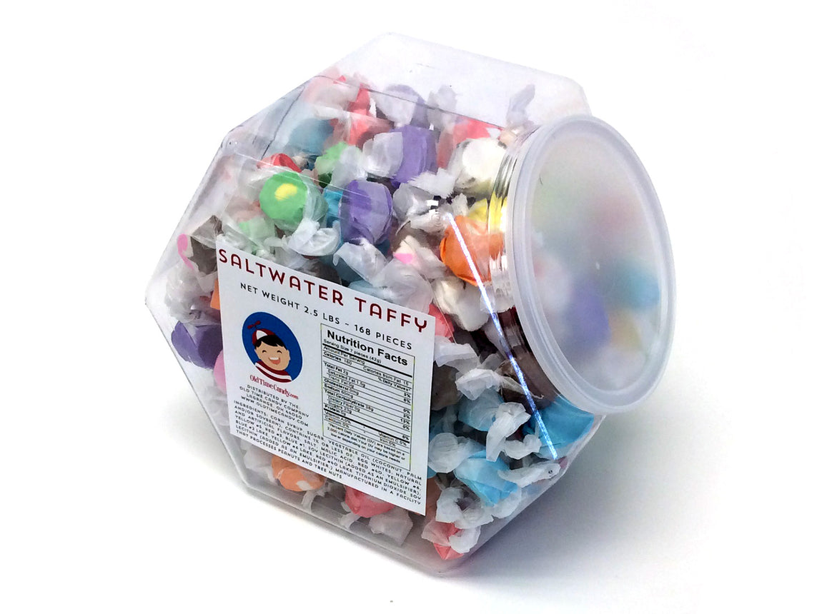 Salt Water Taffy - Assorted Flavors - 2.5 lb Plastic Tub (168 ct)