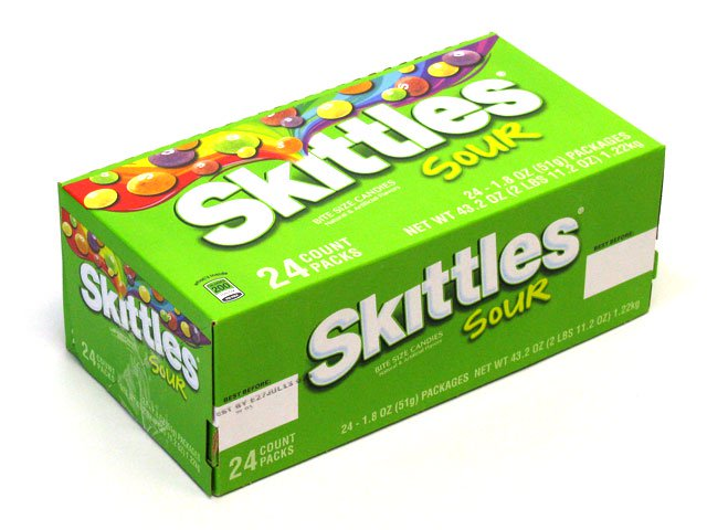 Skittles Sour - 2 17 oz package - box of 24 - OldTimeCandy com