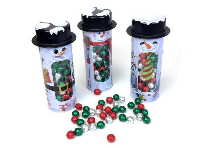 Snowman Window Tin with Chocolate Balls