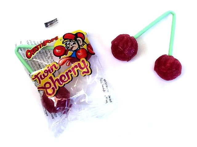 Twin Cherry Lollipops