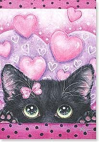 Valentine's Day Card - Black Kitty