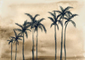 HollyWood Palms, Sepia. Driving down the Boulevard after a long day at the beach x