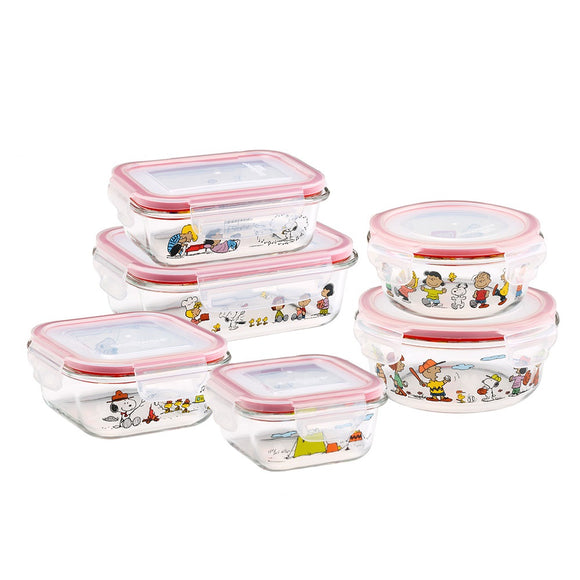 Snoopy Kitchenware Glass Containers 3PCs Peanuts Snoopy X Pyrex Snapware Set
