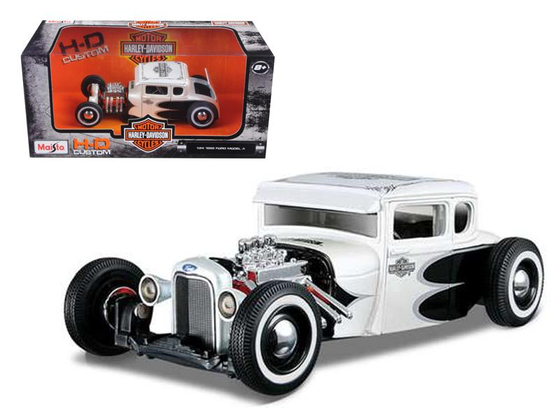 1929 Ford Model A White Harley Davidson 1/24 Diecast Model Car by Maisto