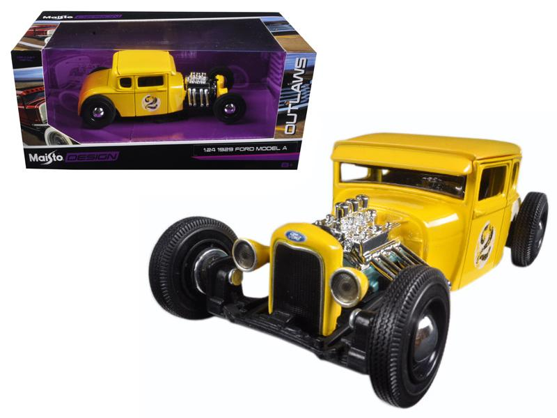 "1929 Ford Model A Yellow #2 ""Outlaws"" 1/24 Diecast Model Car by Maisto"