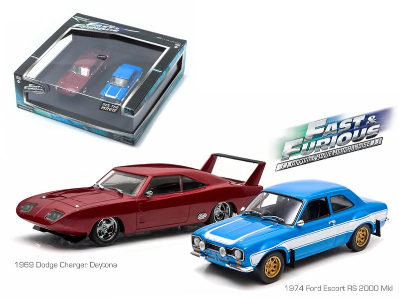 "1969 Dodge Charger Daytona and 1974 Ford Escort RS 2000 Mkl ""The Fast and The Furious"" Movie Diorama Set 1/43 Diecast Model Cars by Greenlight"