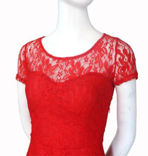 Red DNSDFS® Sexy Princess Summer Dress with Lace