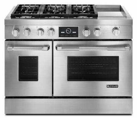 "Jenn-Air 48"" Pro-Style Gas Range with Dual Fan Multimode True Convection System Electric Griddle 20000 BTU Burner Sealed Burner and Auto Convection (Product Feed)"