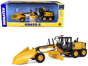 Komatsu GD655-5 Motor Grader with V-Plow & Wing 1/50 Diecast Model by First Gear