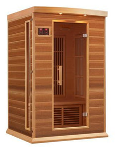 "MX-K206-01-REDCEDAR 75"" Low EMF Far Infrared Sauna with 2 Person Capacity 6 Carbon Heating Elements Chromotherapy Lighting LED Control Panels SD and USB"