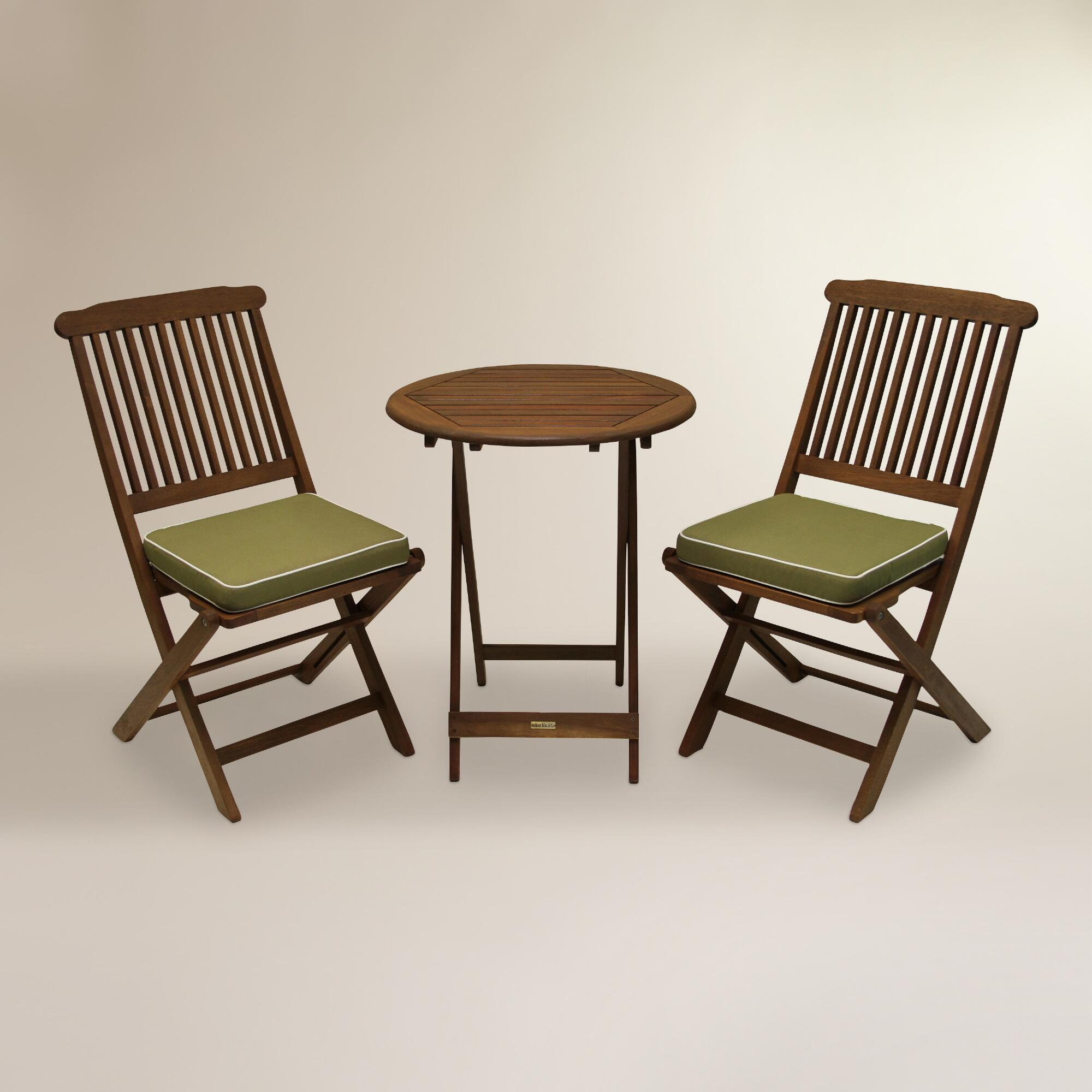 Cavallo 3-Piece Bistro Set with Sage Cushions: Brown/Green - Wood by World Market Cost Plus World Market