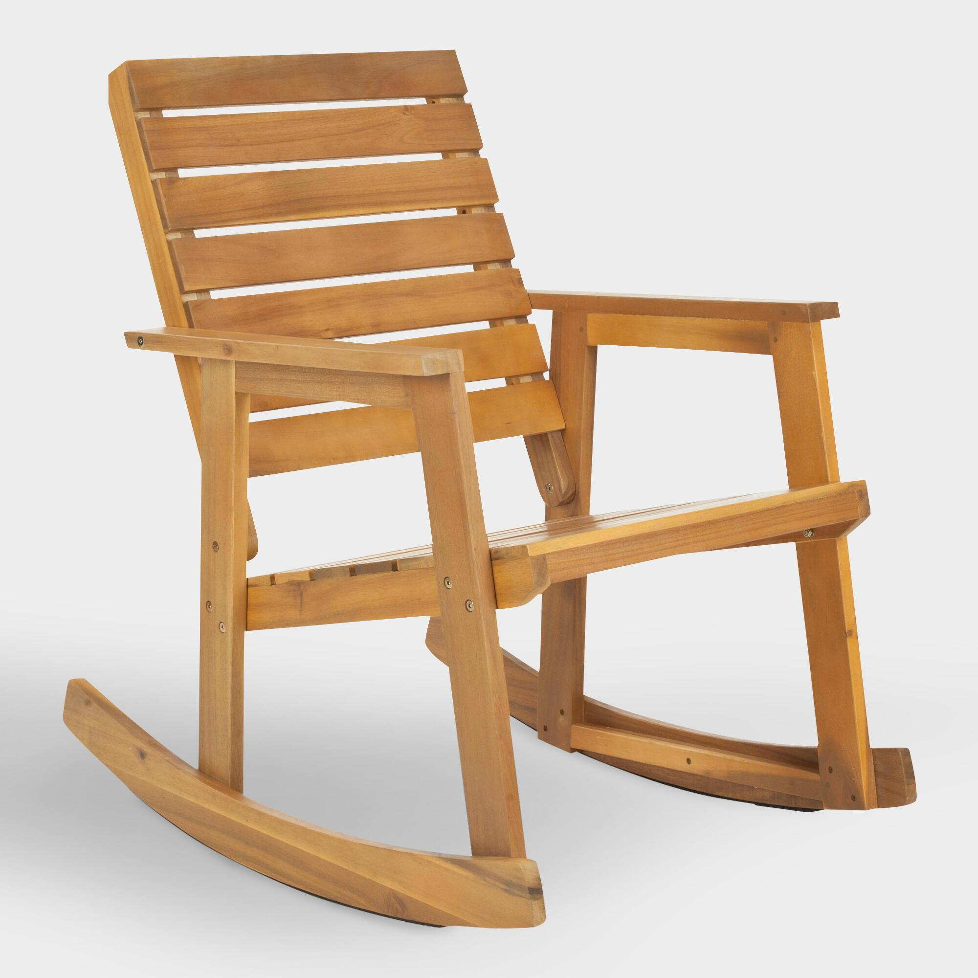 Natural Brown Wood Outdoor Patio Rocking Chair by World Market Cost Plus World Market