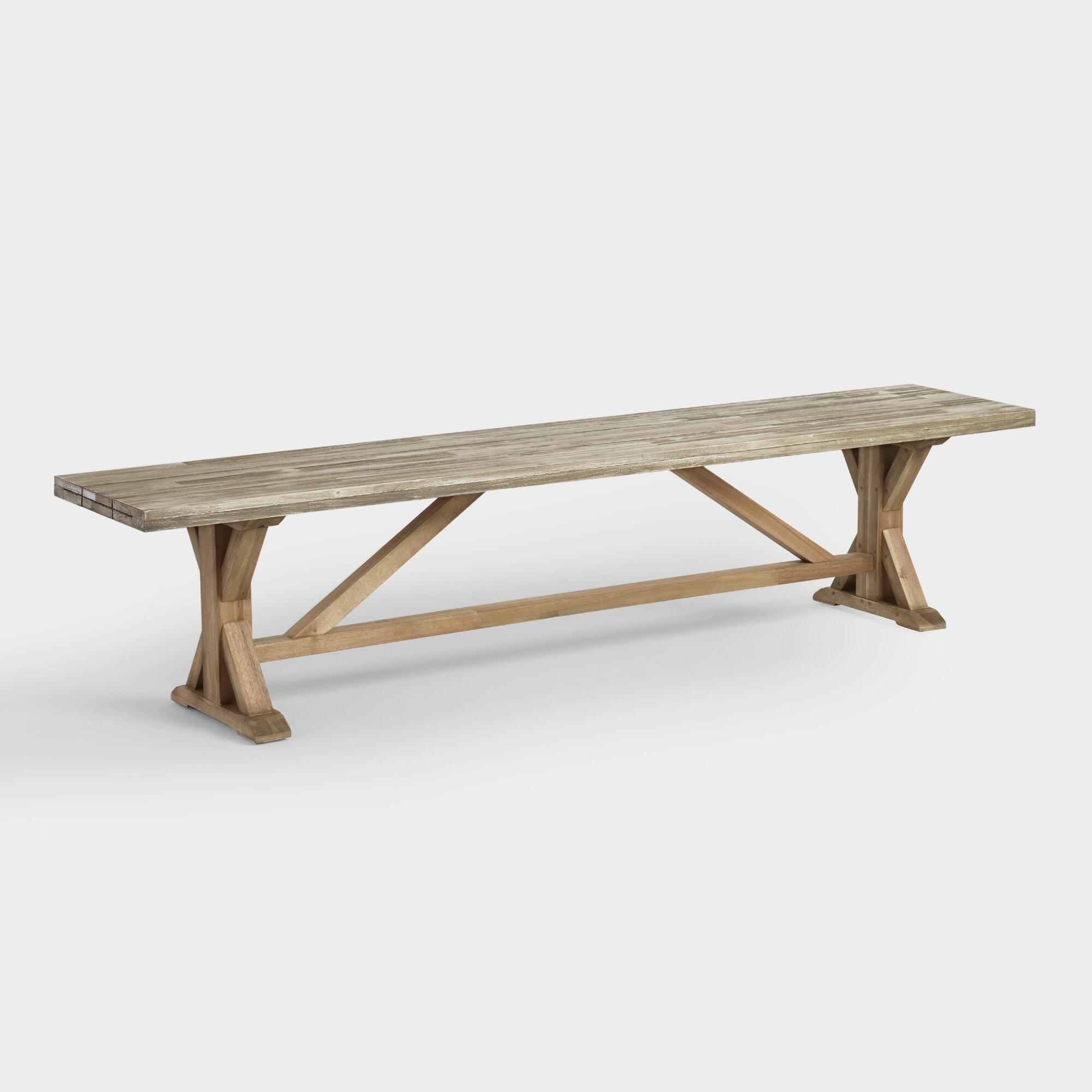 Two Tone Wood San Remo Outdoor Patio Dining Bench: Gray by World Market Cost Plus World Market