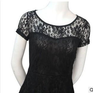 Black Close DNSDFS® Sexy Princess Summer Dress with Lace