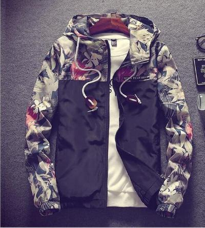 Black Geguistle® Mens Hip Hop Floral Bomber Jacket
