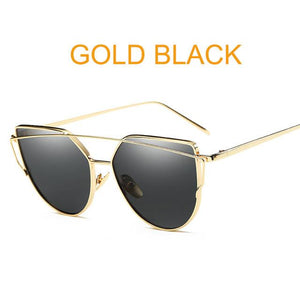 Gold Black Designer Cat Eye Mirror Sunglasses