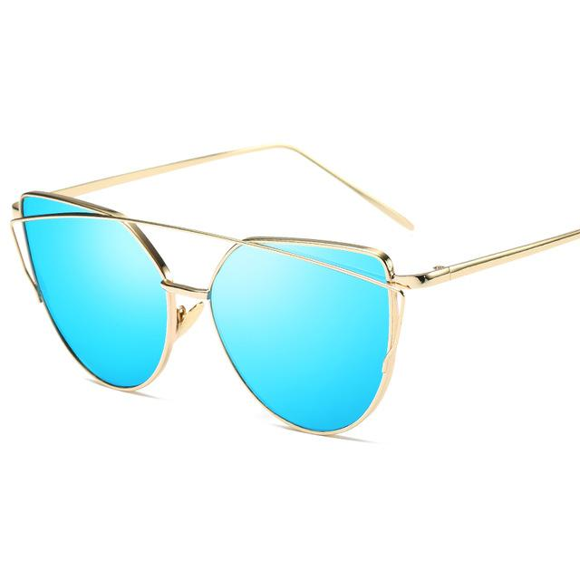 Gold Blue Designer Cat Eye Mirror Sunglasses