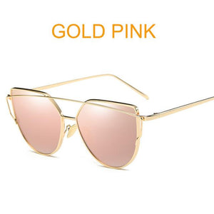 Gold Pink Designer Cat Eye Mirror Sunglasses