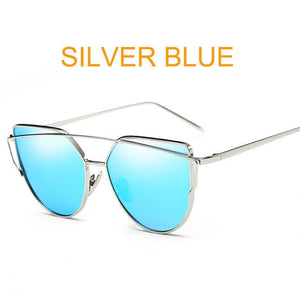 Silver Blue Designer Cat Eye Mirror Sunglasses