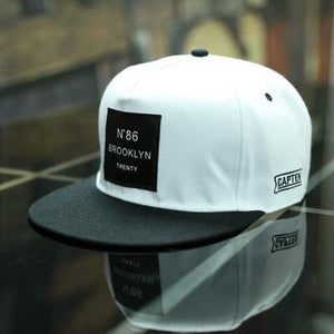 Wht BROOKLYN Letters Solid Color Patch Baseball Cap
