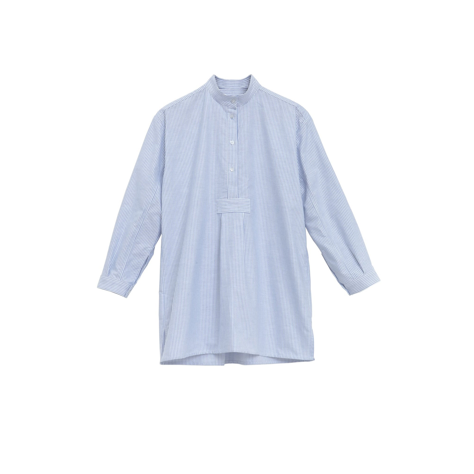 Short Sleep Shirt in Blue Oxford Stripe