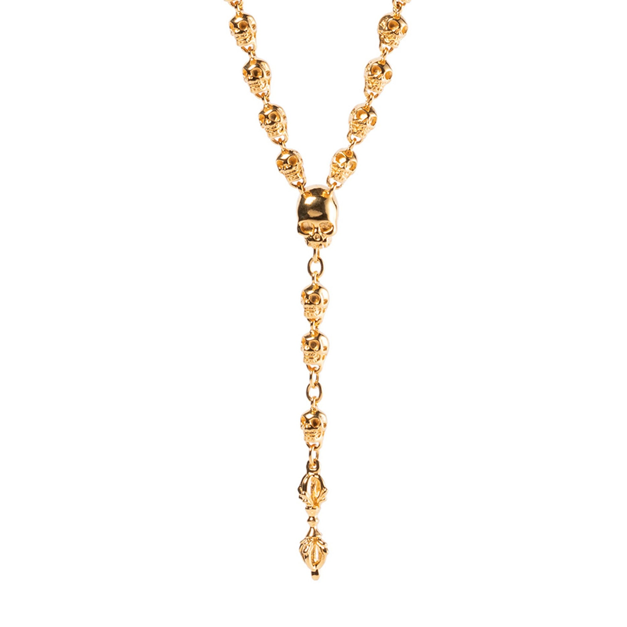Large skull rosary in gold plated sterling silver