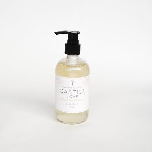 Charcoal & Rose Petals Castile Soap (235mL)