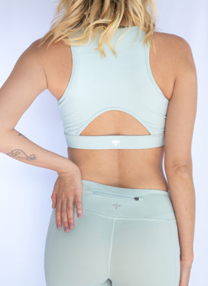 Zipper front mint sports bra