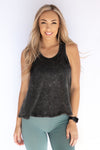 Distressed sleeveless razor back tank