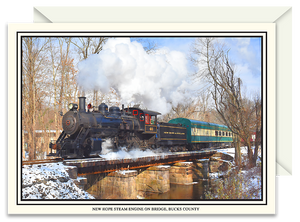 New Hope Historic Steam Engine on Bridge