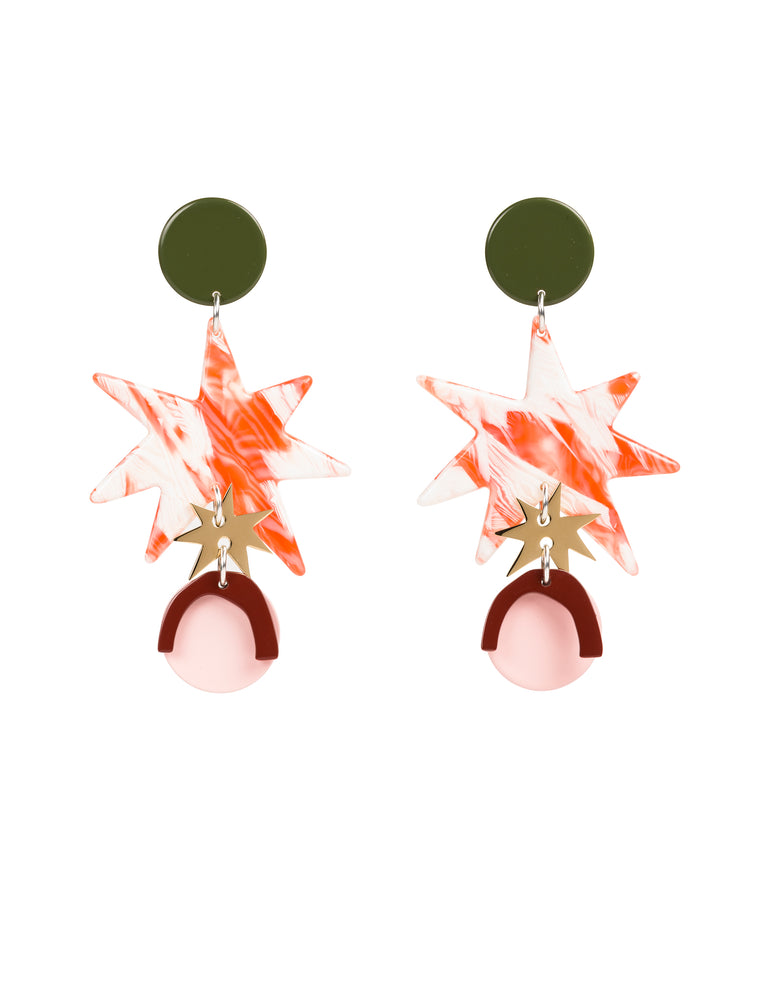 Asta Arc Statement Earrings (Army)