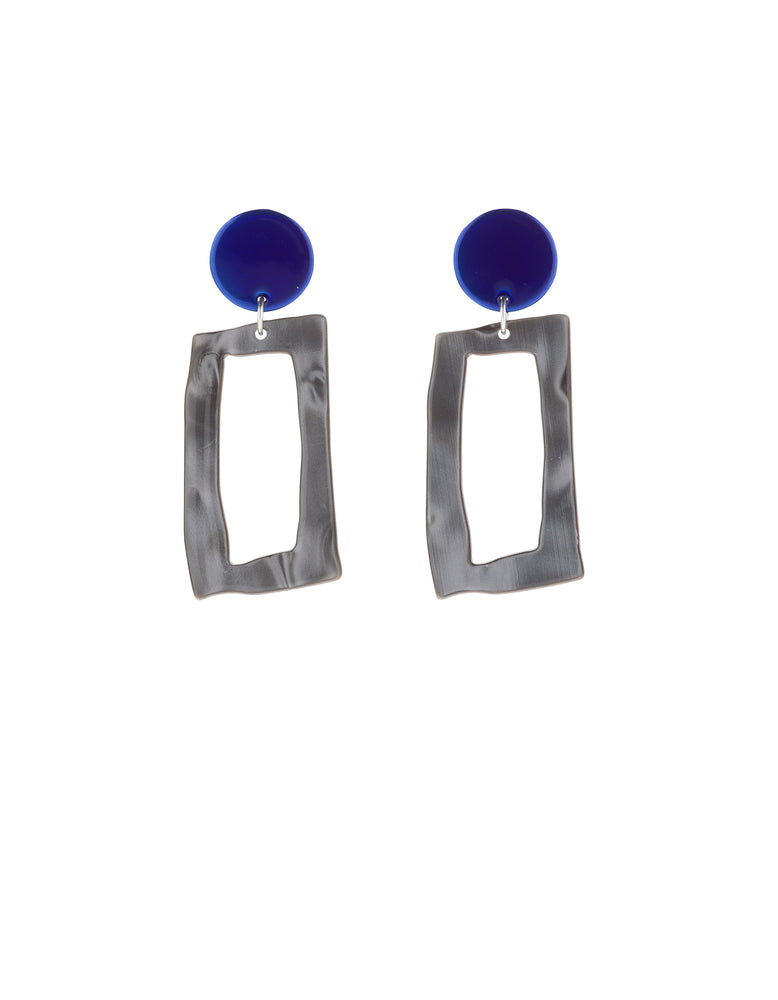 Frame Earrings (Azure Chrome)