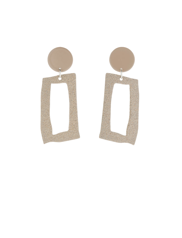 Frame Earrings (Tan & Ecru)