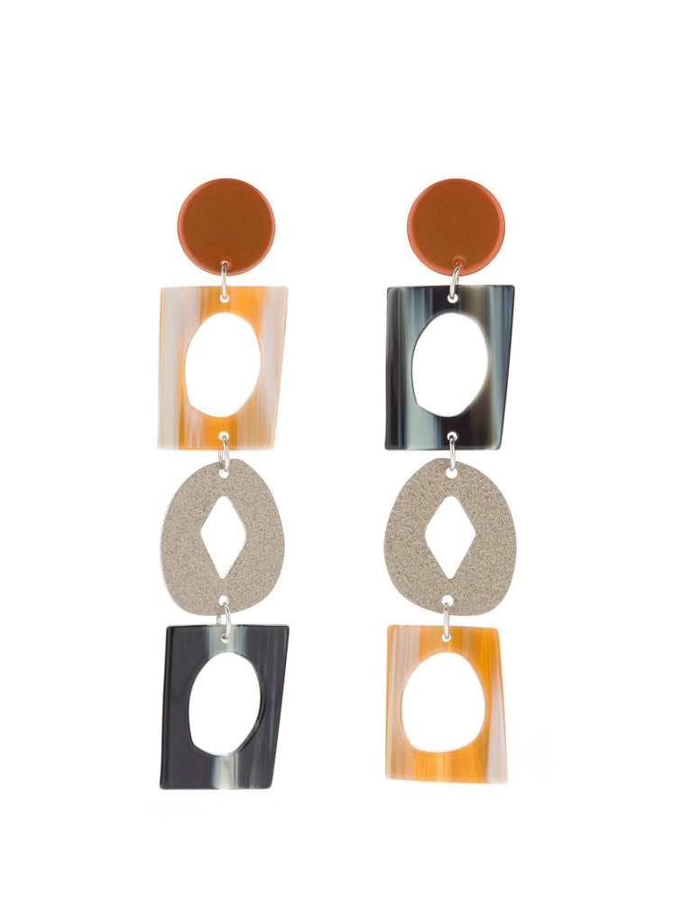 Handicraft Statement Earrings (Tangelo Chrome)