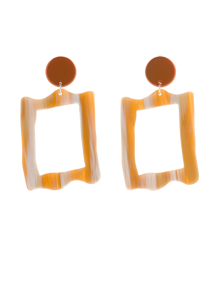 Baroque Frame Earrings (Tangelo Chrome & Bone)