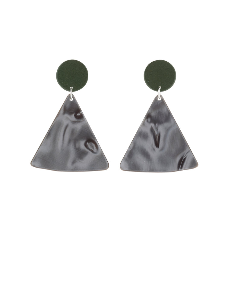 Chip Earrings (Olive Green)
