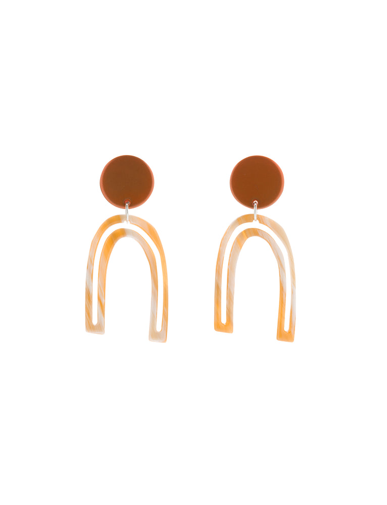 Otis Outline Earrings (Tangelo Chrome)