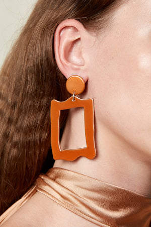 Baroque Frame Earrings (Tangelo Chrome)
