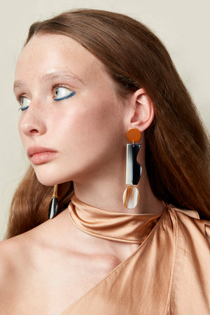 Artefact Earrings (Tangelo Chrome)