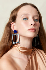 Baroque Frame Earrings (Azure Chrome & Bone)