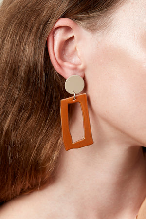 Frame Earrings (Tan & Tangelo Chrome)