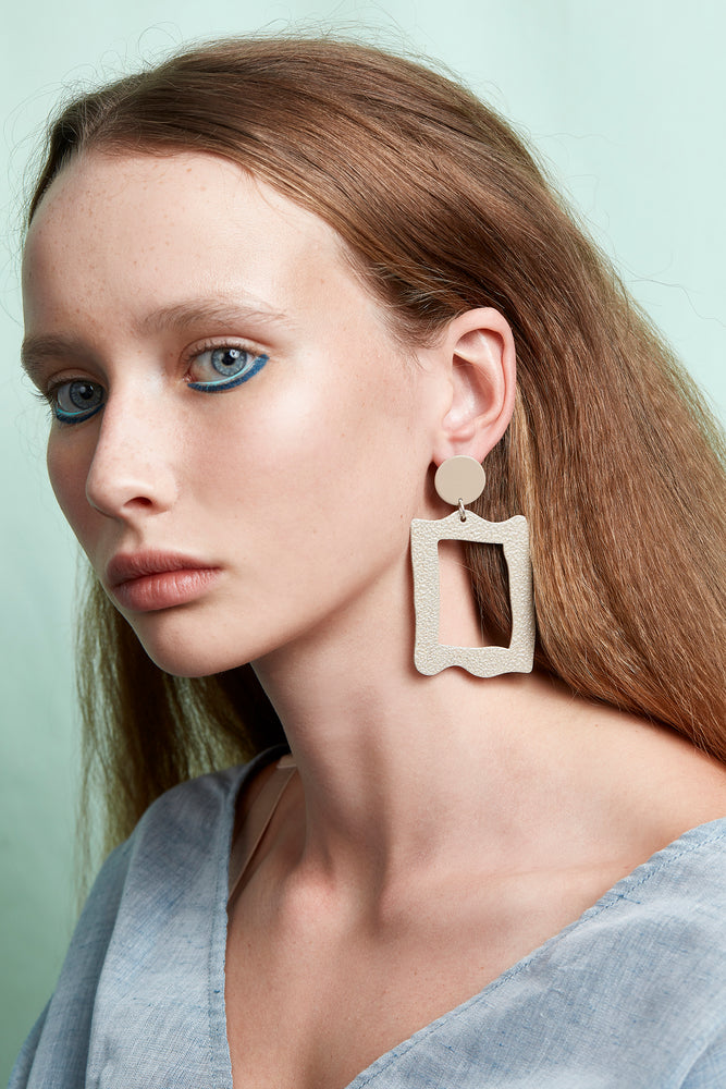 Baroque Frame Earrings (Tan and Ecru)