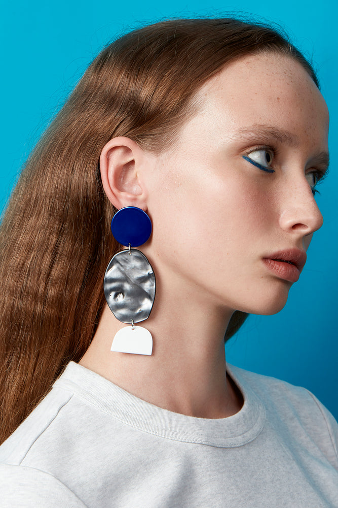 Rock Earrings (Azure Chrome)