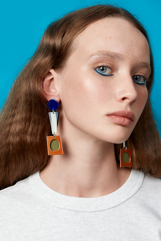 Collage Earrings (Azure Chrome)
