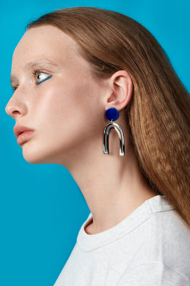 Otis Outline Earrings (Azure Chrome)