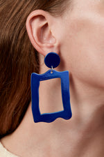 Baroque Frame Earrings (Azure Chrome)
