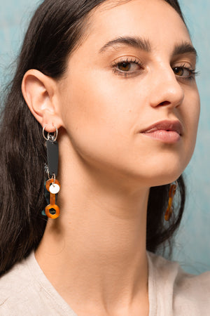 Bianca Mavrick Jewellery Mismatched Statement Hoop Earrings Tortoiseshell Fish  Motif Acetate Sterling Silver