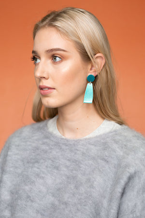 Miles Earring (Chrome Teal)
