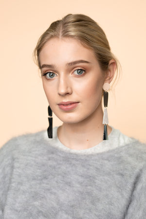 Mismatched Duster Earrings (Pale Pink)